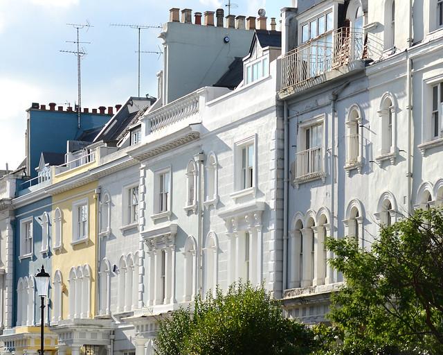 Fachadas de las casas de Notting Hill