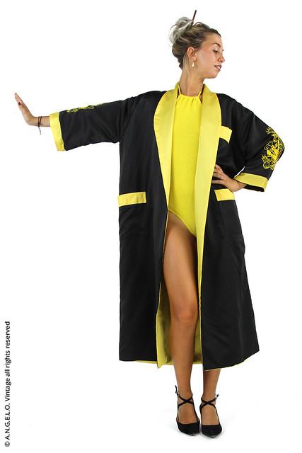 Kimono vintage lungo giallo e nero