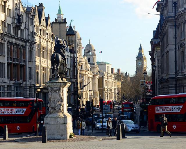Vistas de Londres desde Trafalgar Square, una de las más vistas más bonitas que ver en Londres