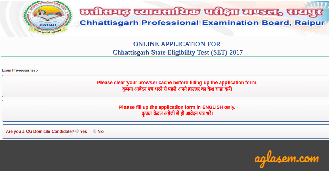 CG SET Application Form 2017   Apply Here