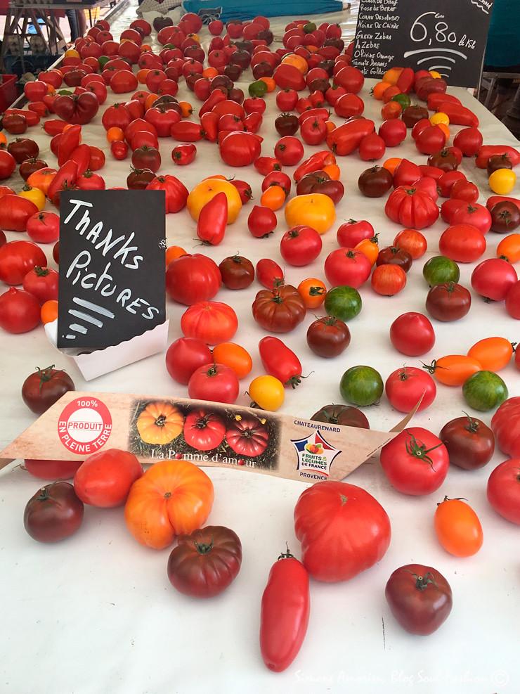 Olha só quantos tipos diferentes de tomates tinha nessa barraca!