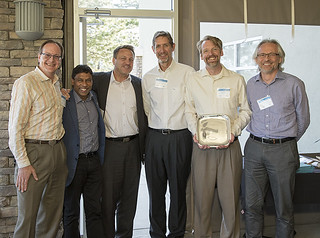 Ray Newell, second from right, is awarded the 2016 Richard P. Feynman Innovation for his leadership in developing and commercializing a successful quantum optics cybersecurity product. Also pictured, from left to right, Duncan McBranch, chief technology officer at Los Alamos National Laboratory; Naveen Jain, founder and CEO of BlueDot; Lee Finewood, technology transfer program manager at the National Nuclear Security Administration; Larry Schultz, leader of the applied modern physics group at Los Alamos; and Richard Moulds, general manager of Whitewood Encryption Systems®.