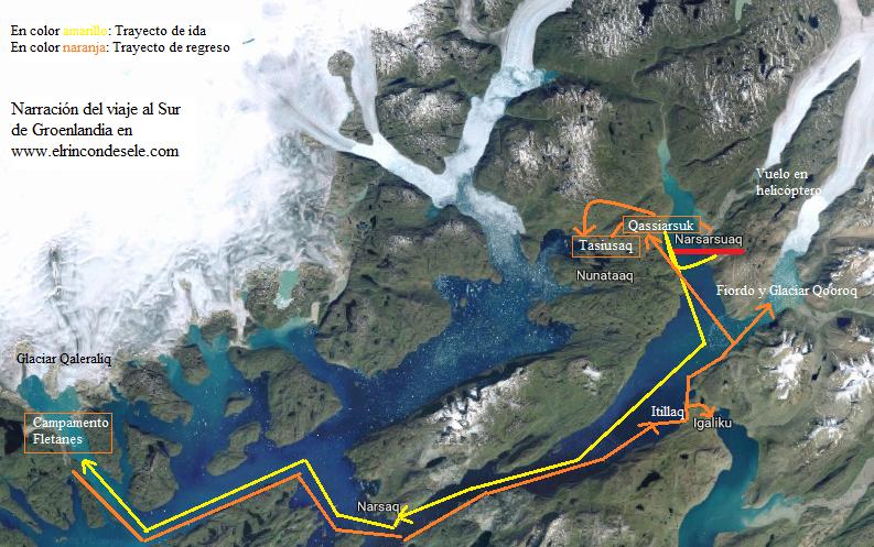 Mapa de la ruta de viaje al sur de Groenlandia