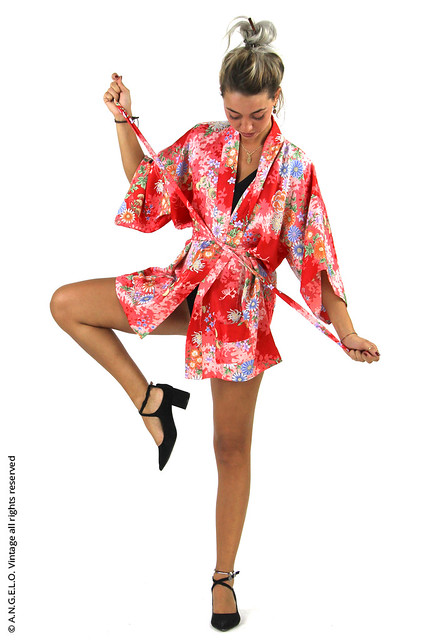 Kimono vintage rosso fiori