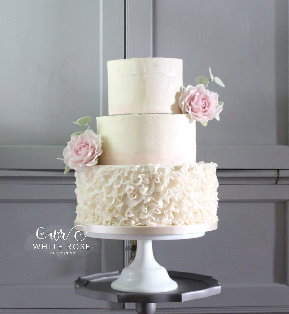 Three Tier Wedding Cake with Watercolour Ombre Pink Butter… | Flickr