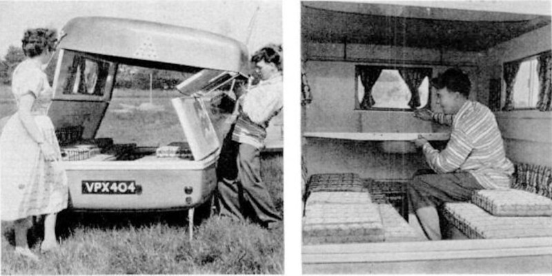 The trailer neatly folds away into a flat box seven feet long and five feet wide. It stands just three and a half feet off the ground. Made of Fiberglas and equipped with independent wheel suspension, the trailer can be assembled into a nifty camping van in just 10 minutes.