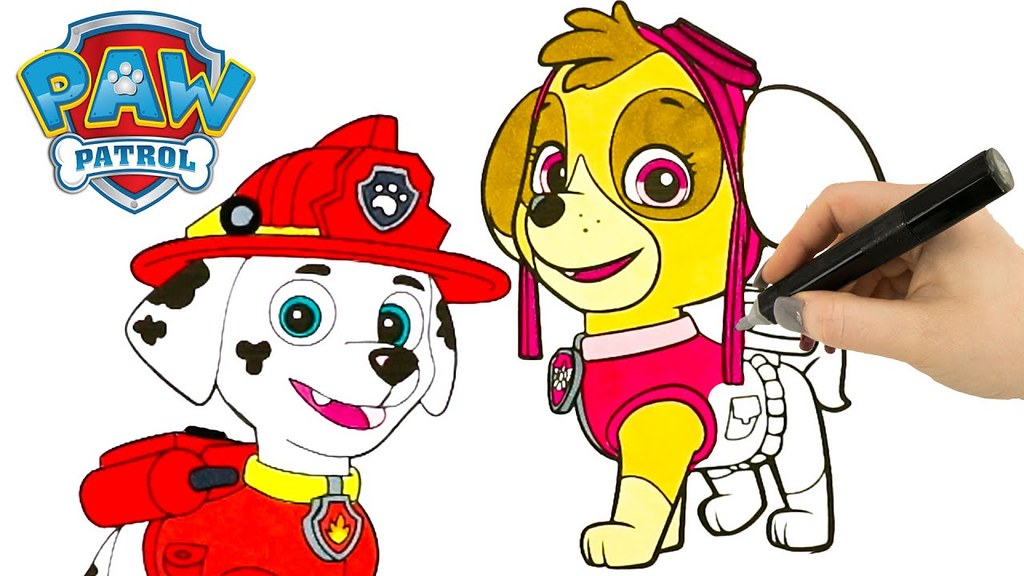 ... Paw Patrol Coloring Book Videos For Kids Sky Chase And Marshall  Coloring Pages | By The