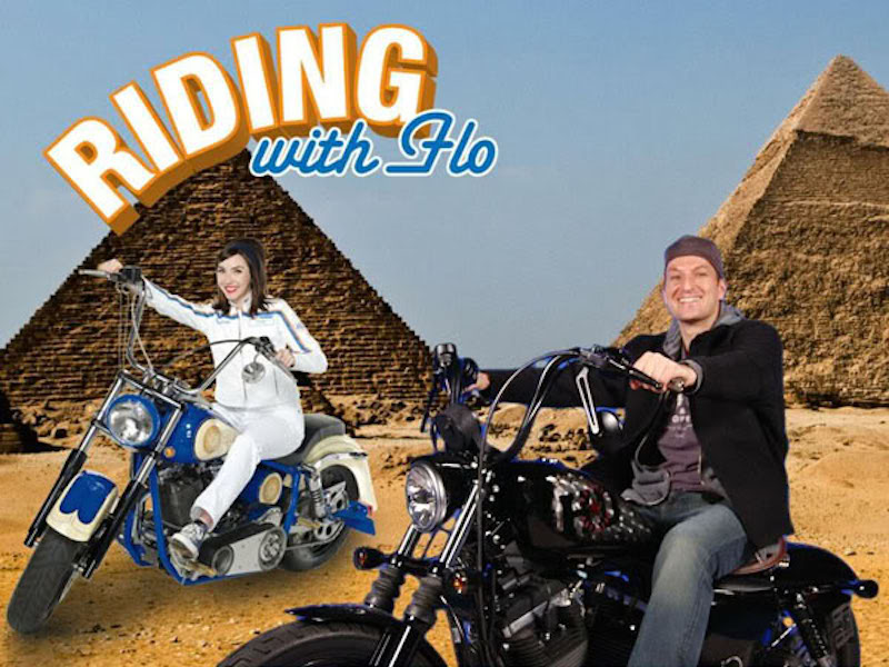 Casey riding with Flo in Egypt