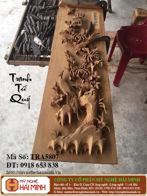 TRA5807h  Tranh Tu Quy Mai Truc Cuc Tung  do go mynghehaiminh