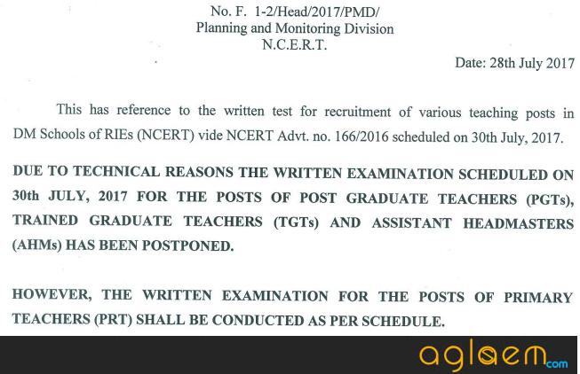 NCERT Answer Key 2017 for AMH, PGT, TGT, PRT, WET Recruitment Exam