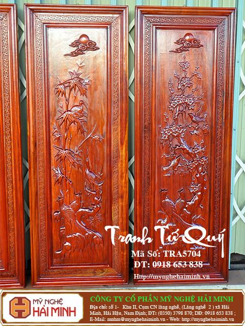 TRA5704f Tranh Tu Quy Mai Truc Cuc Tung  do go mynghehaiminh