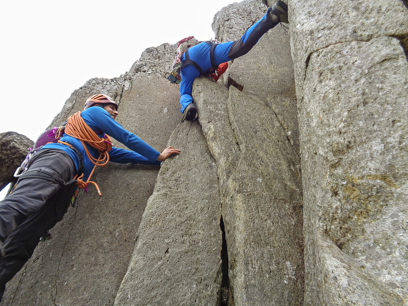 Approaching the crux of the route
