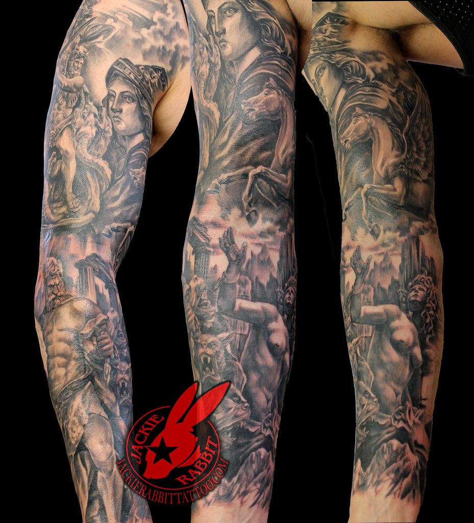 Greek God Godess Black And Grey Sleeve Tattoo By Jackie Ra Flickr