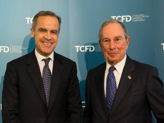 英國央行總裁卡尼(Mark Carney)與TCFD主席彭博。圖片來源:TCFD