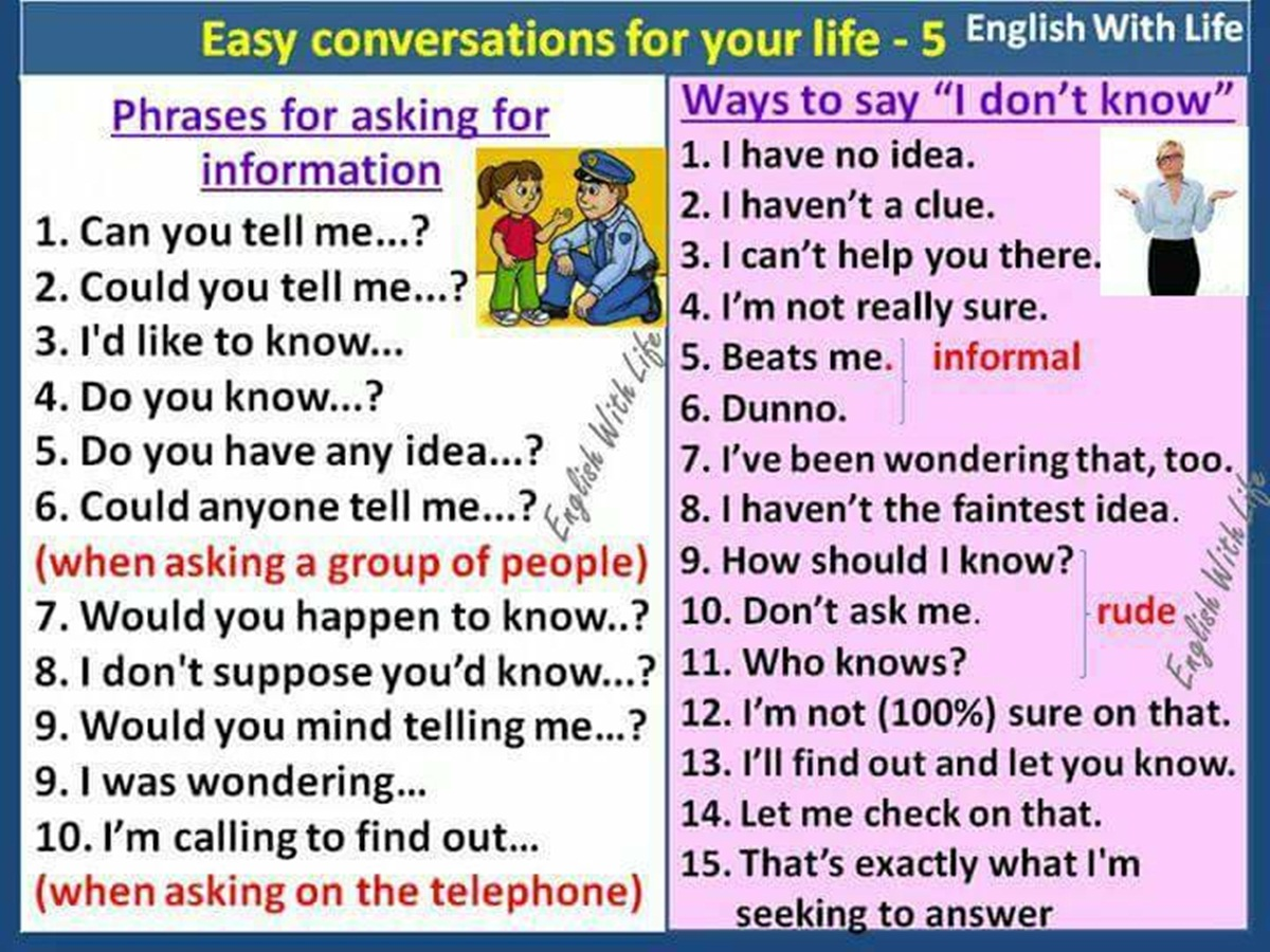"Useful Expressions for Asking for Information & Different Ways to Say ""I don't K 3"