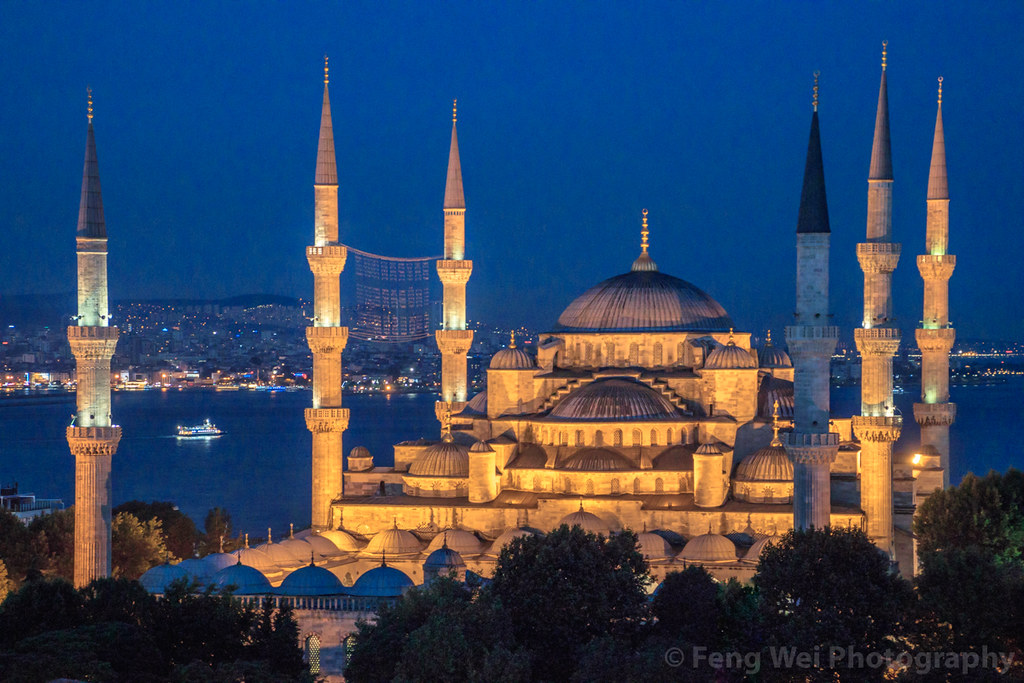 Night View Of Blue Mosque, Istanbul, Turkey   土耳其-Istanbul ...