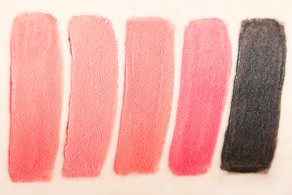Rimmel Stay Matte Liquid Lip Colours in Pink Bliss, Blush, Pink Blink, Rose And Shine, Pitch Black