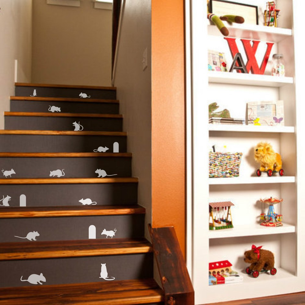 Halloween Wall Sticker Stair Creepy Mice 14 Mice 3 Hole