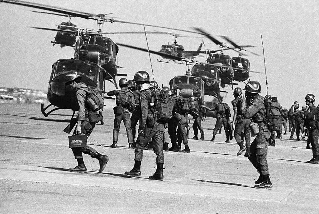 Vietnam War 1966 - Vietnamese Rangers Loading Helicopters