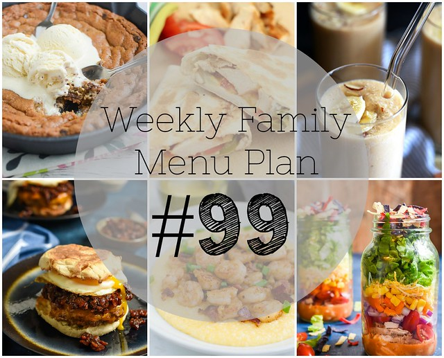 Get ready for the week with a Weekly Family Menu Plan! Five weeknight dinners, a weekend breakfast, and a yummy dessert!