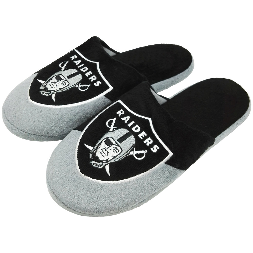 43b82378 Details about Oakland Raiders Men's Colorblock Slide Slippers