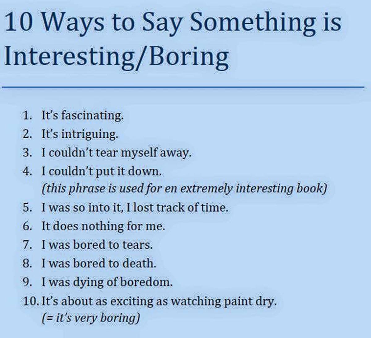 10 Ways to Say Something is Interesting/ Boring 3