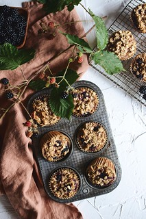blackberry walnut oat muffins | by Hapaway