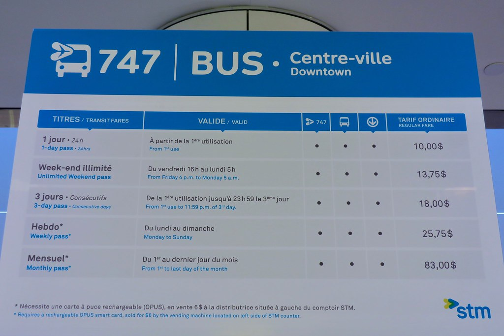 Stm 747 Airport To Downtown Montreal Shuttle Bus Www Stm