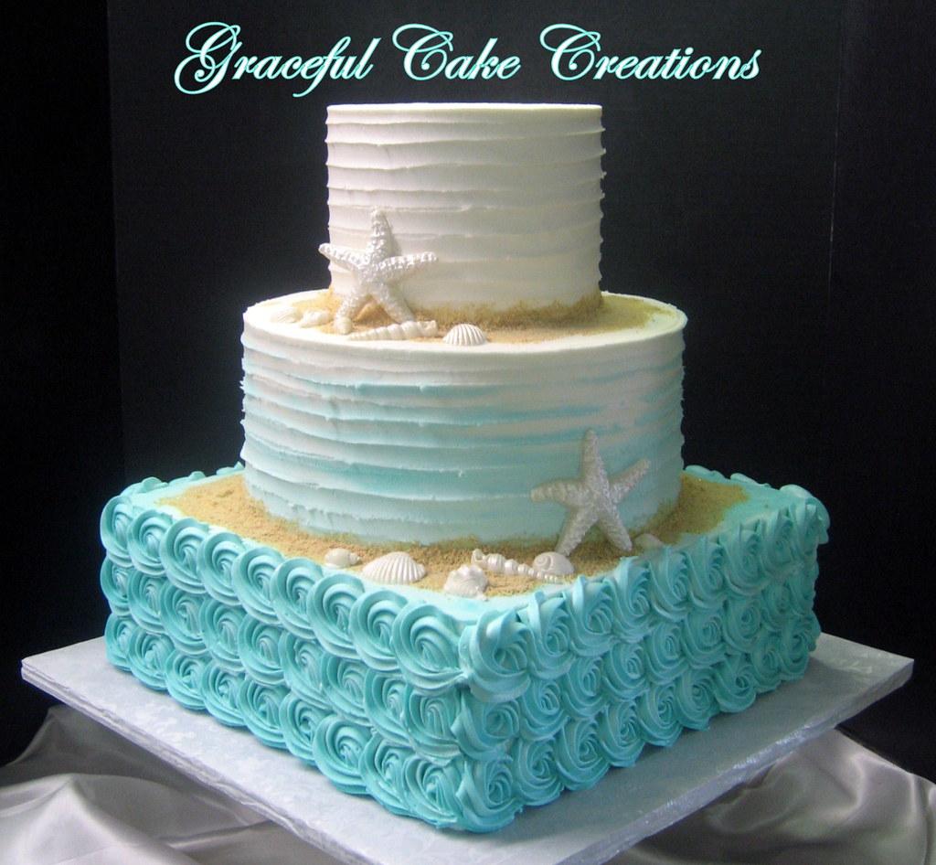 Beach Themed Tiffany Blue Ombre Wedding Cake Grace Tari Flickr