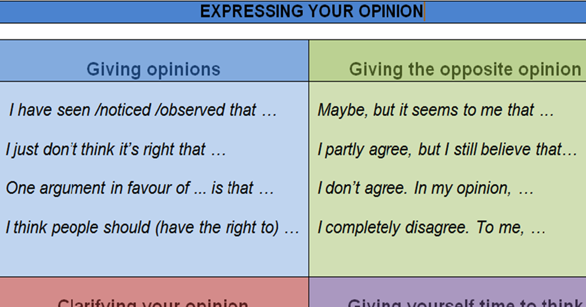 Useful Expressions to Express your Opinion 5