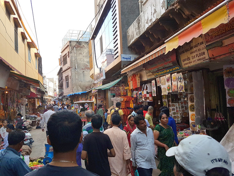 Street of Vrindavan full of shoppers
