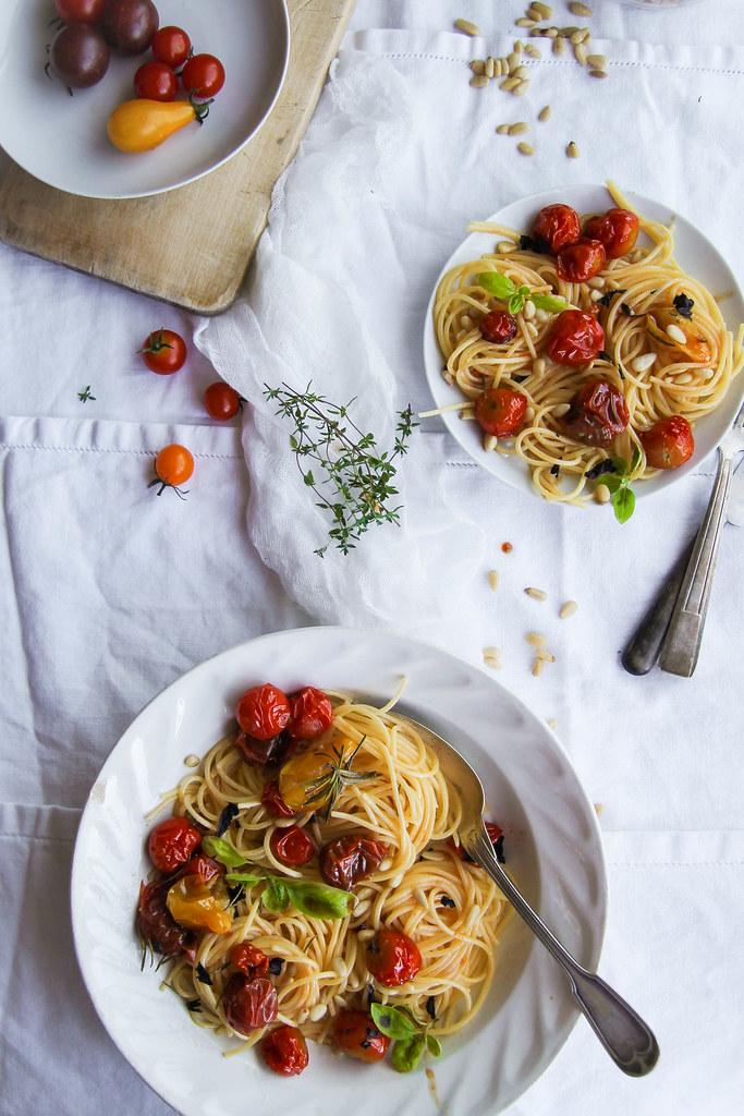 Spaghettis aux tomates rôties recette facile