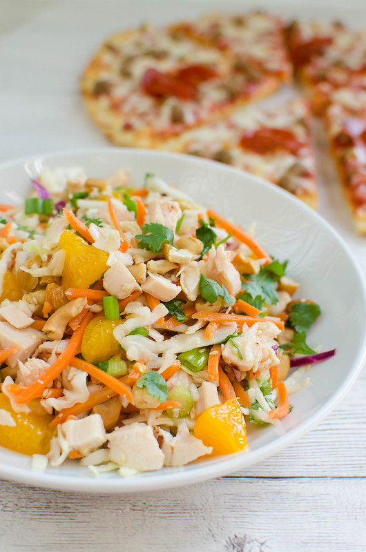 Cashew Chicken Chopped Salad - chicken, veggies, mandarin oranges, and cashews tossed in a sweet and sour dressing! My kids LOVE this salad!