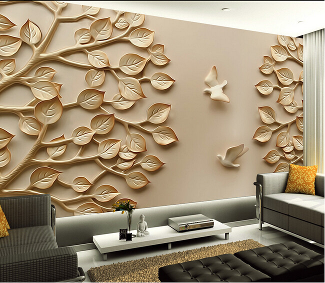 European Wallpaper Mural Large 3D Wall Paper Leaves for TV Flickr