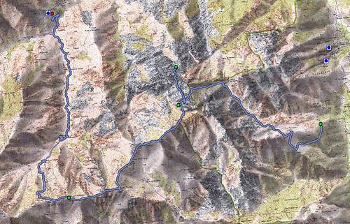 Carte Pinara - Popolasca avec la trace complète de l'ensemble des 2 jours de randonnée entre Castiglione et Ascu