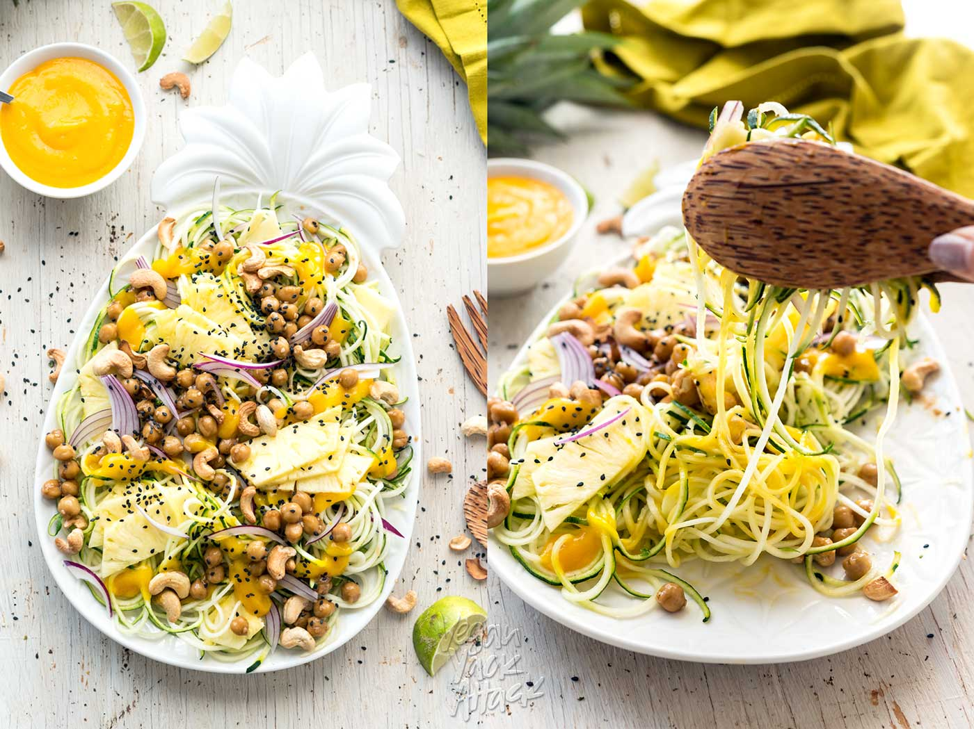 Pineapple Teriyaki Chickpea Zoodles on a white serving platter with wood tongs