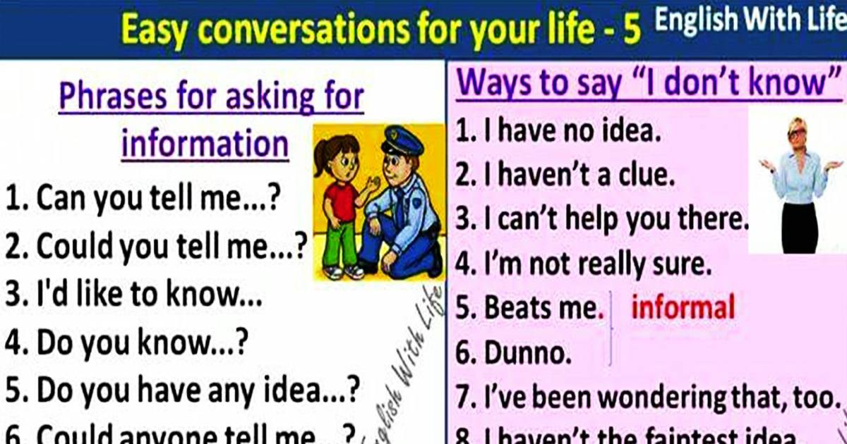 "Useful Expressions for Asking for Information & Different Ways to Say ""I don't K 5"