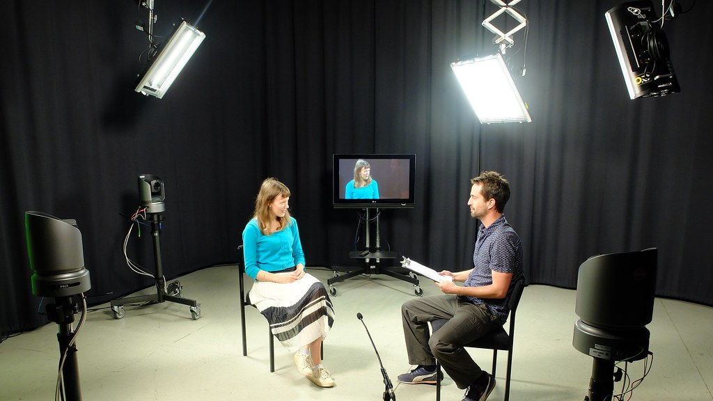 The TV studio being used for an interview