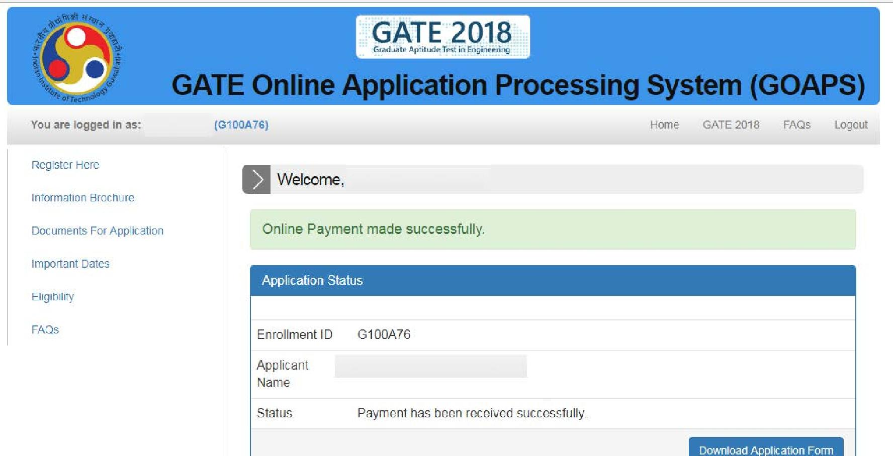 GATE 2018 Application Form Filling Step by Step Instructions