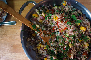 Lemon-parsley rice pilaf with beef and summer vegetables | by optionalkitchen