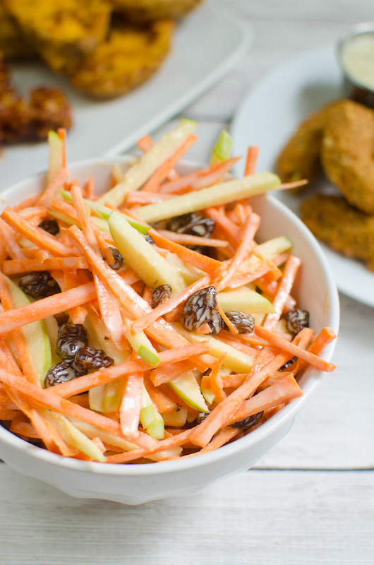 Carrot Apple Salad - sliced carrots and apples with raisins in a sweet and tangy dressing! So easy and so delicious! My kids love this!