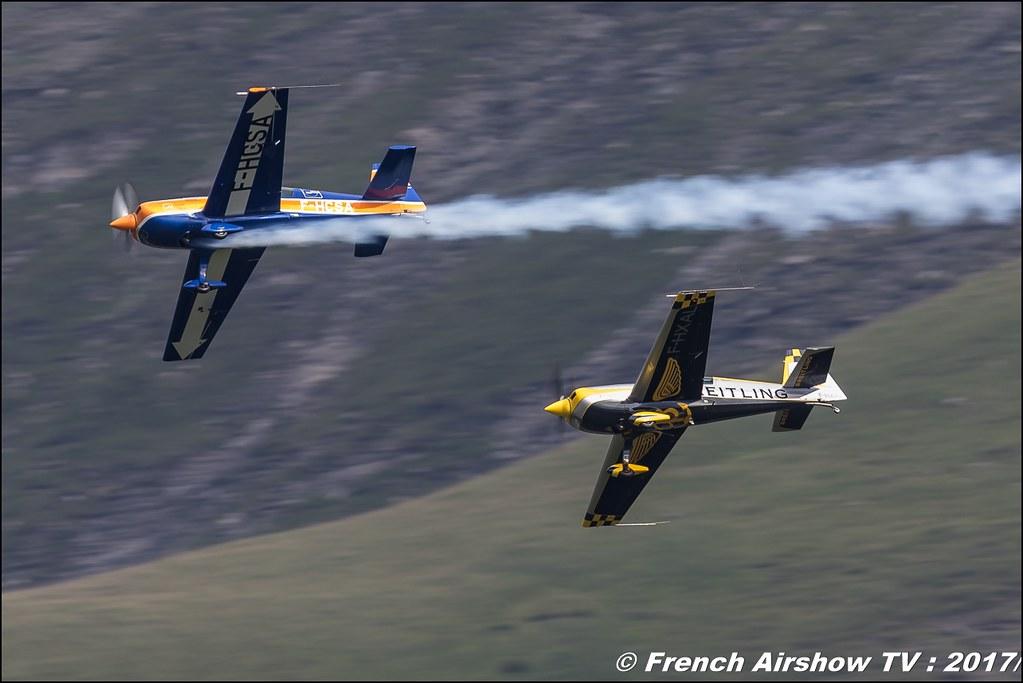 extra 330 sc Aude Lemordant F-HXAL & Extra EA 300 L F-HCSA Catherine Maunoury 50ans d'Aviation Megeve 2017 - altiport de Megève , Haute-Savoie, Auvergne-Rhône-Alpes , Meeting Aerien 2017