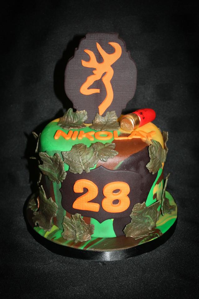 Hunting Camo 28th BIrthday Cake