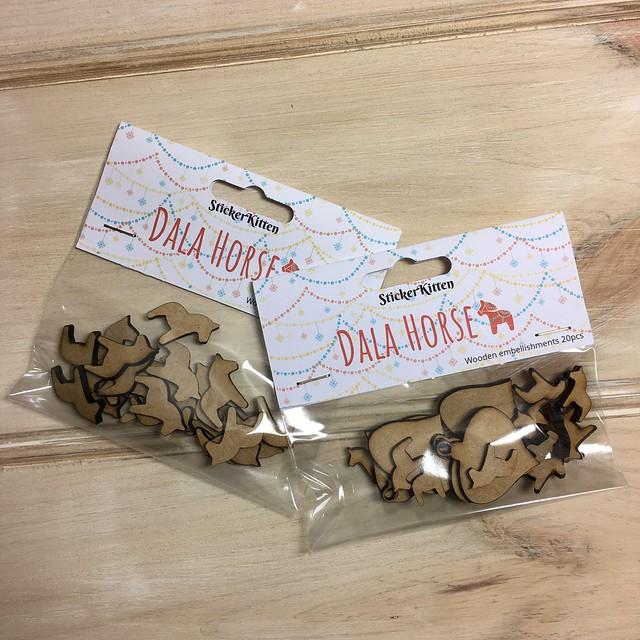 StickerKitten Christmas 2017 range - Dala Horse wooden embellishments
