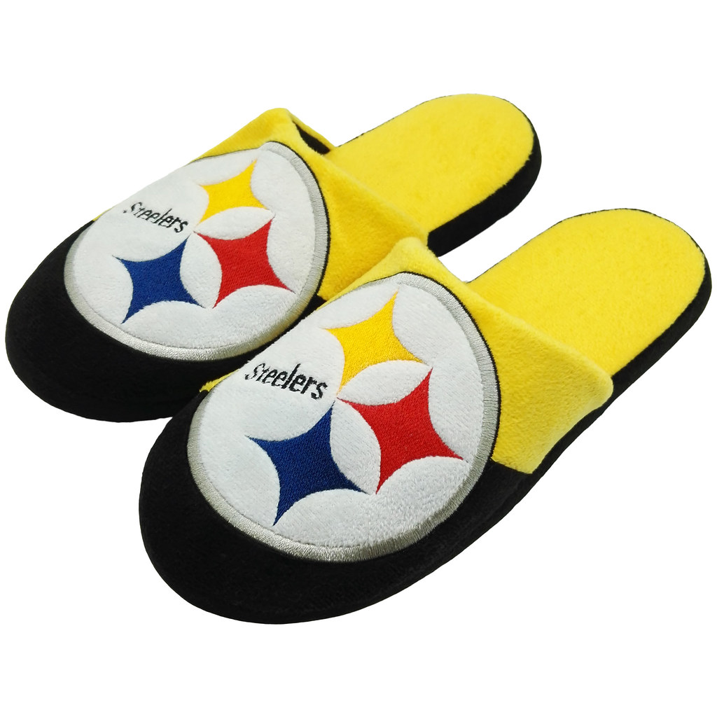 be17fcb8 Details about Pittsburgh Steelers Men's Colorblock Slide Slippers