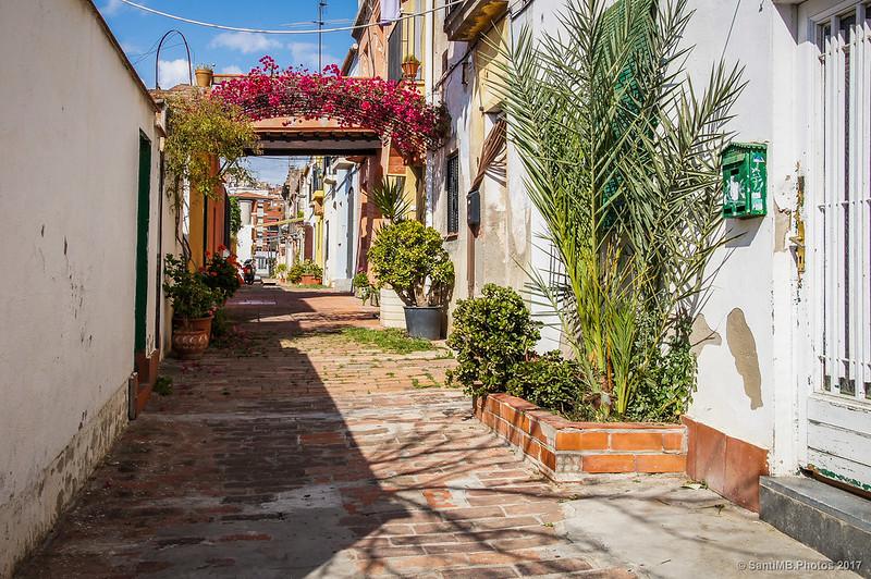 Calle de Aiguafreda en el barrio de Horta
