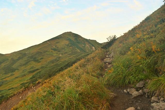 草紅葉が始まる奥大日岳の稜線