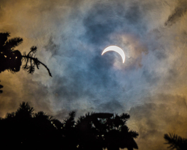 Solar Eclipse, Partial Eclipse, Sun, Moon, Sky, Clouds