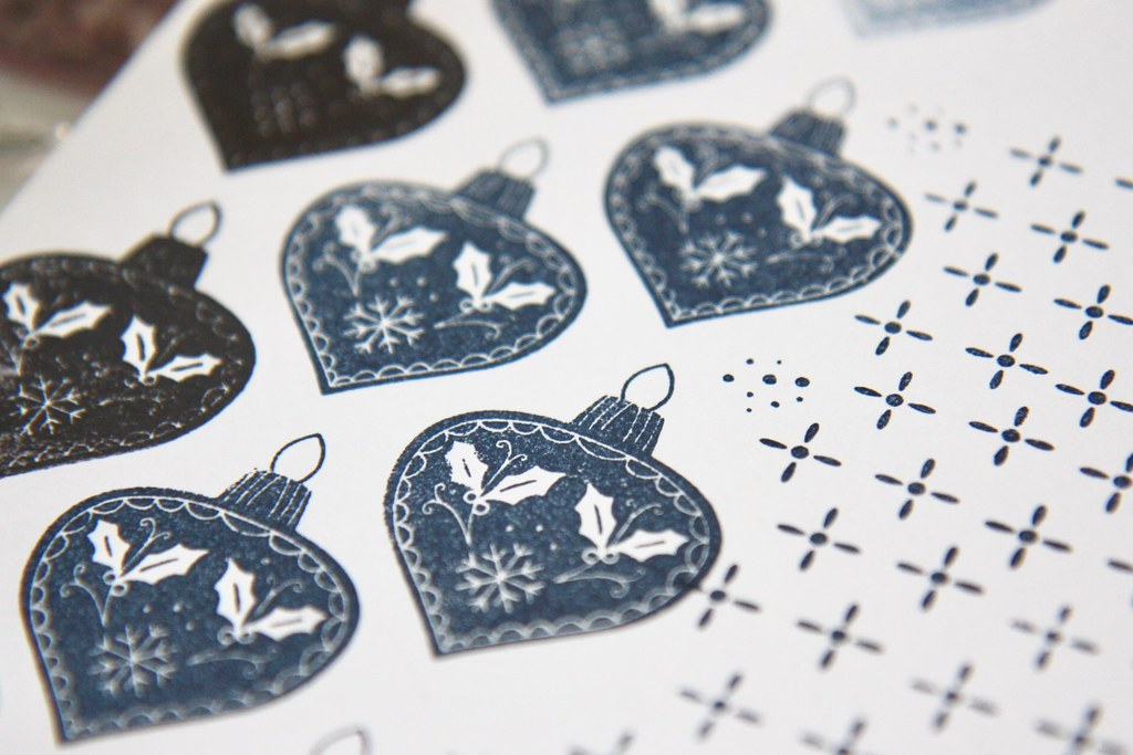 StickerKitten Dala Horse stamp set - navy blue decorative bauble stamps