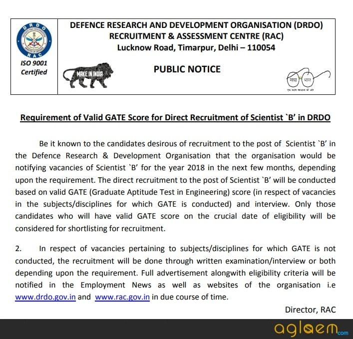 DRDO Recruitment through GATE 2018 for Scientists B